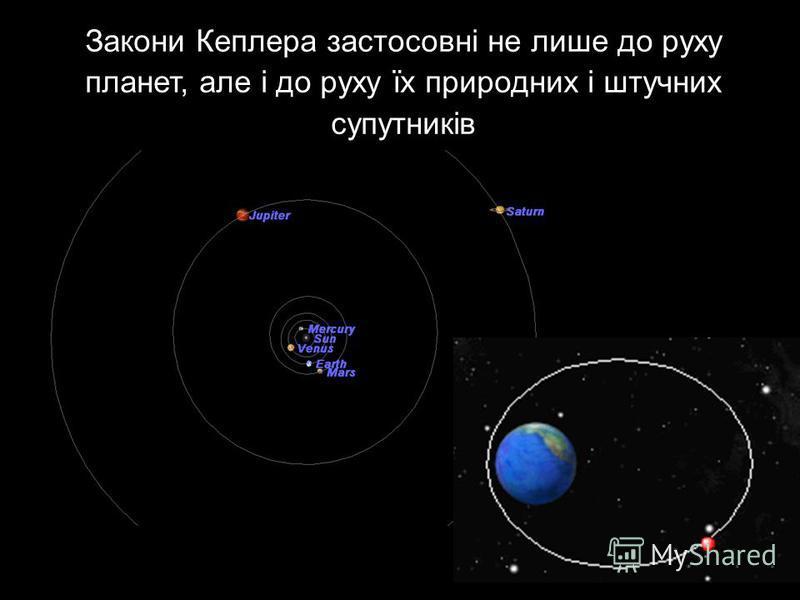 Закони Кеплера застосовні не лише до руху планет, але і до руху їх природних і штучних супутників