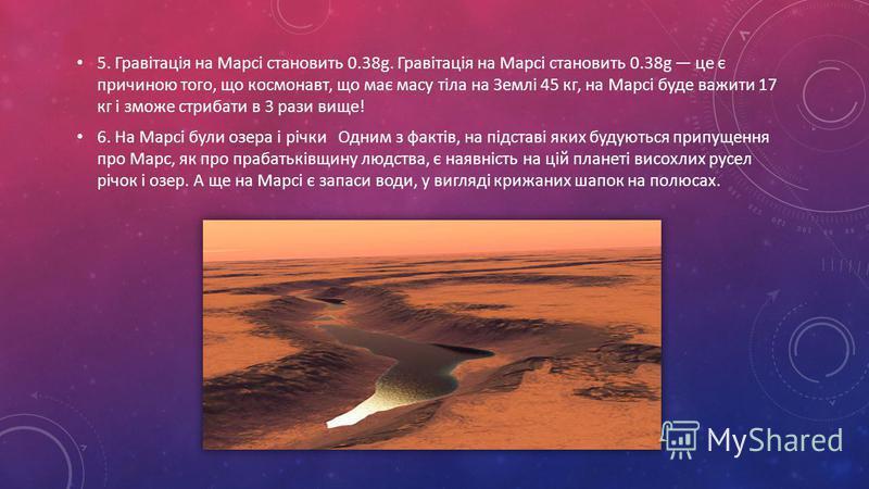 5. Гравітація на Марсі становить 0.38g. Гравітація на Марсі становить 0.38g це є причиною того, що космонавт, що має масу тіла на Землі 45 кг, на Марсі буде важити 17 кг і зможе стрибати в 3 рази вище! 6. На Марсі були озера і річки Одним з фактів, н