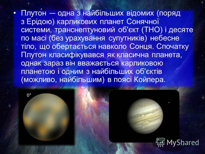 Плуто́н одна з найбільших відомих (поряд з Ерідою) карликових планет Сонячної системи, транснептуновий об'єкт (ТНО) і десяте по масі (без урахування супутників) небесне тіло, що обертається навколо Сонця. Спочатку Плутон класифікувався як класична пл