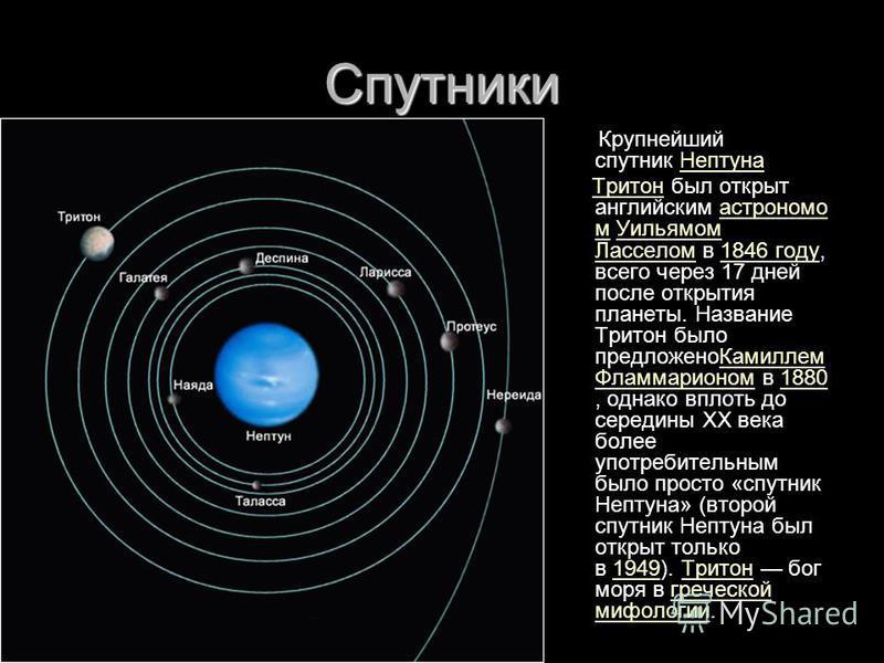 Спутники Крупнейший спутник Нептуна Нептуна Тритон был открыт английским астрономом Уильямом Ласселом в 1846 году, всего через 17 дней после открытия планеты. Название Тритон было предложено Камиллем Фламмарионом в 1880, однако вплоть до середины XX