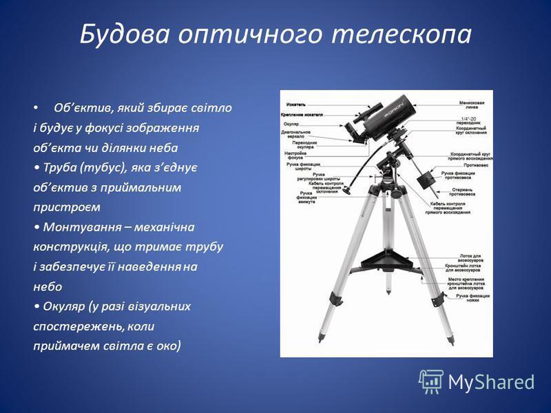 Будова оптичного телескопа Обєктив, який збирає світло і будує у фокусі зображення обєкта чи ділянки неба Труба (тубус), яка зєднує обєктив з приймальним пристроєм Монтування – механічна конструкція, що тримає трубу і забезпечує її наведення на небо