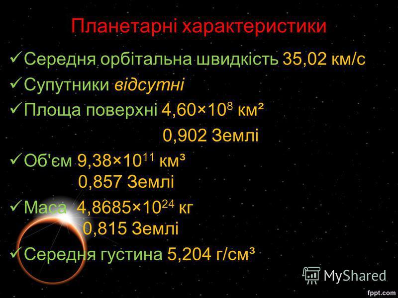 Середня орбітальна швидкість 35,02 км/с Супутники відсутні Площа поверхні 4,60×10 8 км² 0,902 Землі Об'єм 9,38×10 11 км³ 0,857 Землі Маса 4,8685×10 24 кг 0,815 Землі Середня густина 5,204 г/см³ Планетарні характеристики