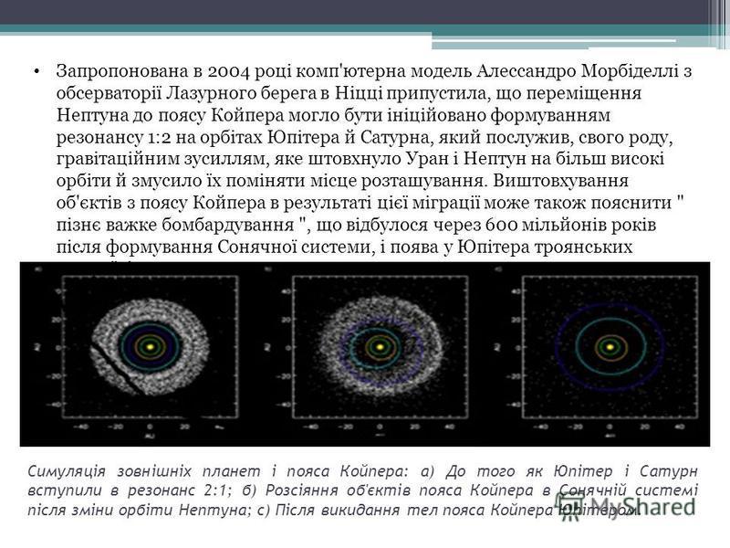Симуляція зовнішніх планет і пояса Койпера: а) До того як Юпітер і Сатурн вступили в резонанс 2:1; б) Розсіяння об'єктів пояса Койпера в Сонячній системі після зміни орбіти Нептуна; c) Після викидання тел пояса Койпера Юпітером. Запропонована в 2004