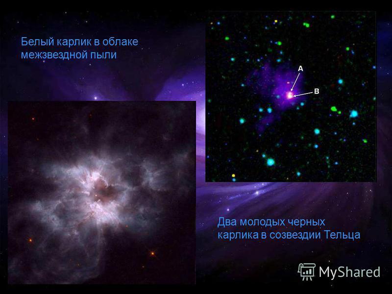 Белый карлик в облаке межзвездной пыли Два молодых черных карлика в созвездии Тельца