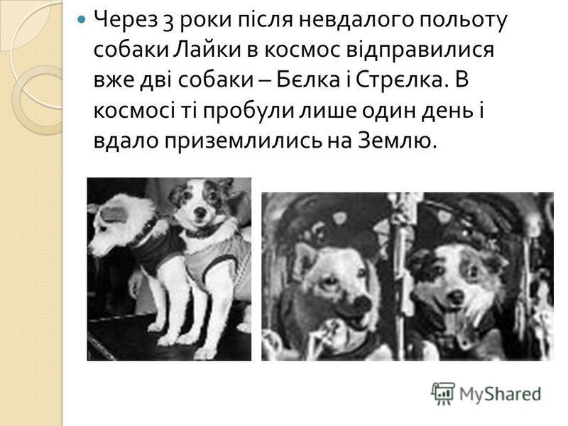Через 3 роки після невдалого польоту собаки Лайки в космос відправилися вже дві собаки – Бєлка і Стрєлка. В космосі ті пробули лише один день і вдало приземлились на Землю.