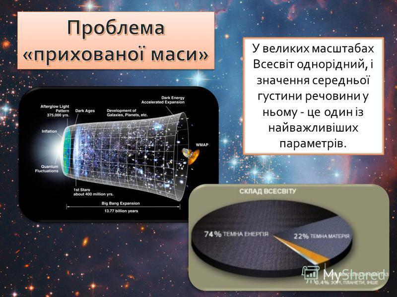 У великих масштабах Всесвіт однорідний, і значення середньої густини речовини у ньому - це один із найважливіших параметрів.
