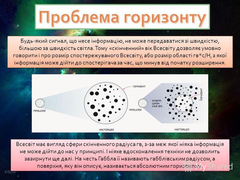 Будь-який сигнал, що несе інформацію, не може передаватися зі швидкістю, більшою за швидкість світла. Тому «скінченний» вік Всесвіту дозволяє умовно говорити і про розмір спостережуваного Всесвіту, або розмір області гв*с/Н, з якої інформація може ді