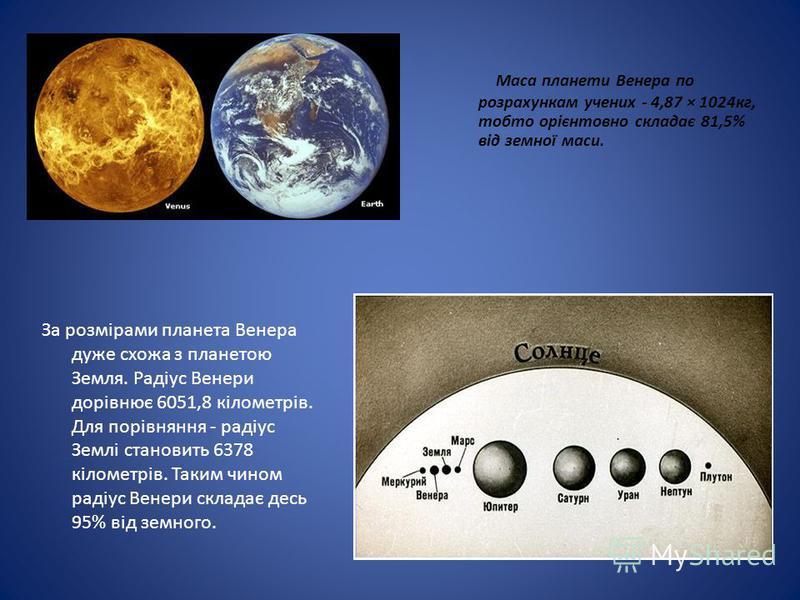 Маса планети Венера по розрахункам учених - 4,87 × 1024кг, тобто орієнтовно складає 81,5% від земної маси. За розмірами планета Венера дуже схожа з планетою Земля. Радіус Венери дорівнює 6051,8 кілометрів. Для порівняння - радіус Землі становить 6378