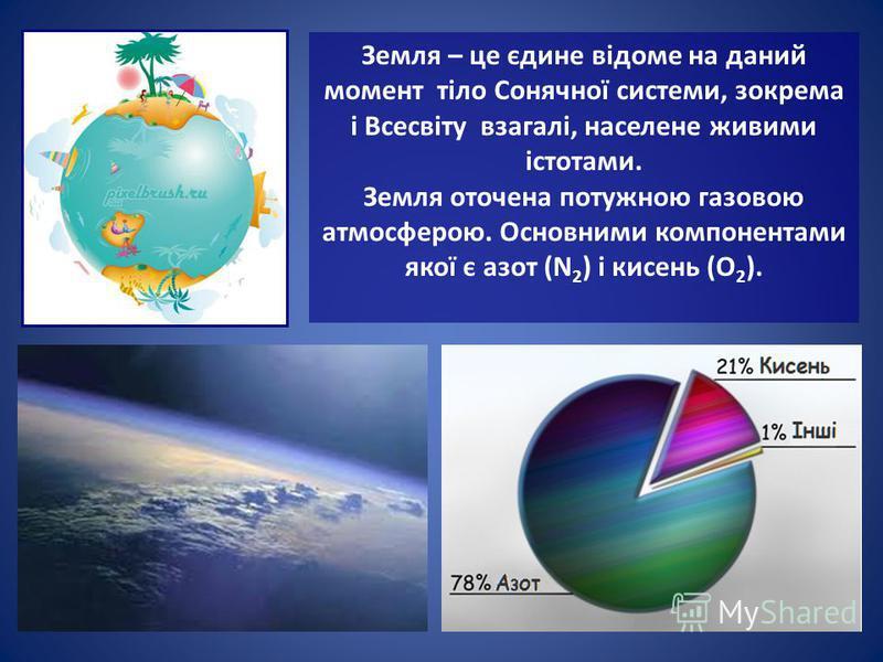 Земля – це єдине відоме на даний момент тіло Сонячної системи, зокрема і Всесвіту взагалі, населене живими істотами. Земля оточена потужною газовою атмосферою. Основними компонентами якої є азот (N 2 ) і кисень (O 2 ).
