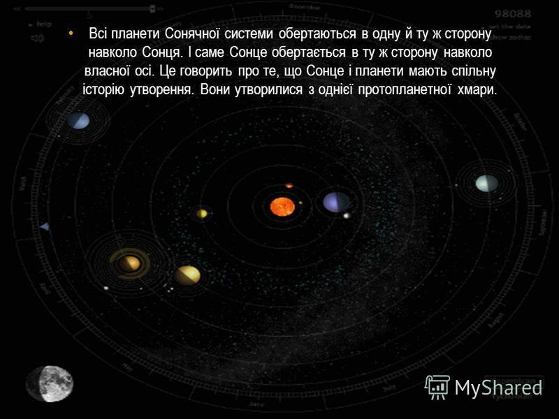 Всі планети Сонячної системи обертаються в одну й ту ж сторону навколо Сонця. І саме Сонце обертається в ту ж сторону навколо власної осі. Це говорить про те, що Сонце і планети мають спільну історію утворення. Вони утворилися з однієї протопланетної