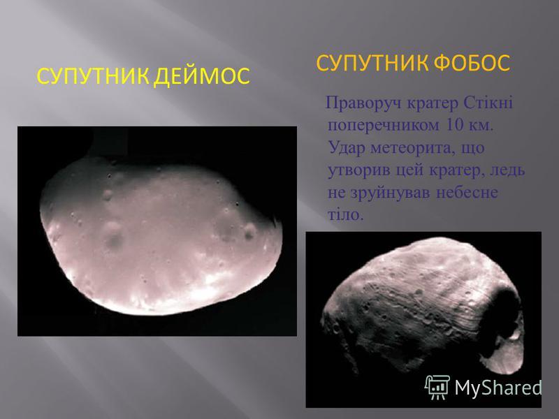СУПУТНИК ДЕЙМОС СУПУТНИК ФОБОС Праворуч кратер Стікні поперечником 10 км. Удар метеорита, що утворив цей кратер, ледь не зруйнував небесне тіло.