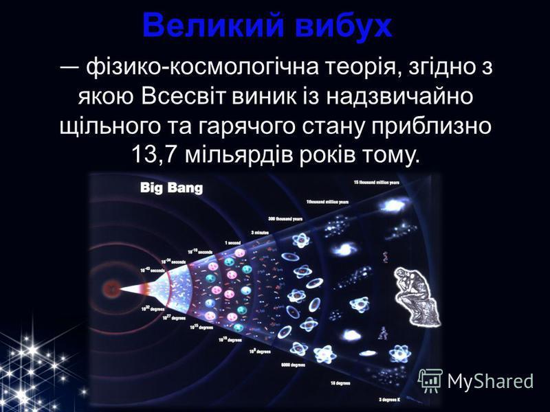 Великий вибух фізико-космологічна теорія, згідно з якою Всесвіт виник із надзвичайно щільного та гарячого стану приблизно 13,7 мільярдів років тому.