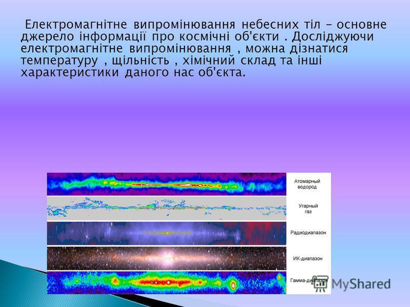 Електромагнітне випромінювання небесних тіл - основне джерело інформації про космічні об'єкти. Досліджуючи електромагнітне випромінювання, можна дізнатися температуру, щільність, хімічний склад та інші характеристики даного нас об'єкта.