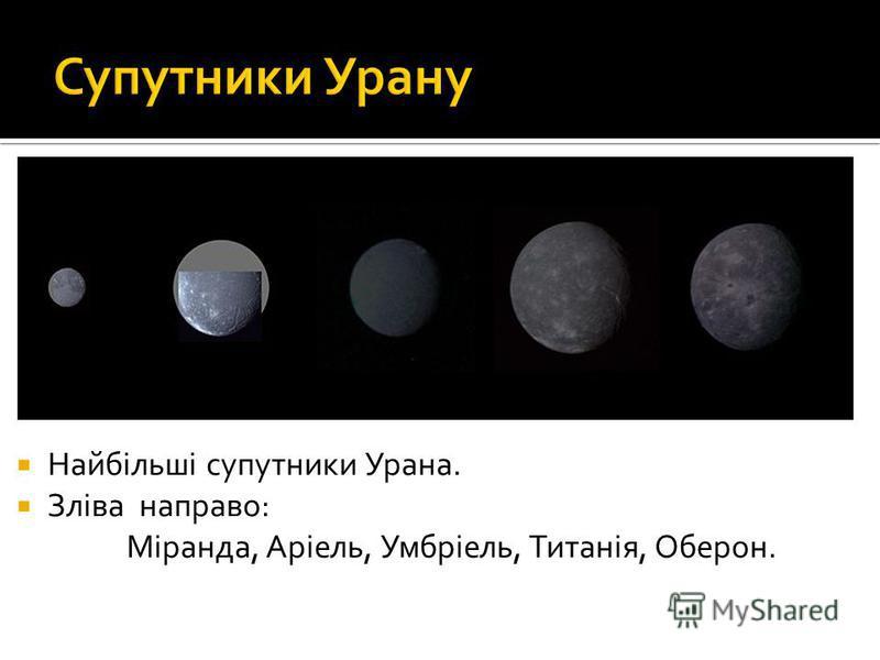 Найбільші супутники Урана. Зліва направо: Міранда, Аріель, Умбріель, Титанія, Оберон.