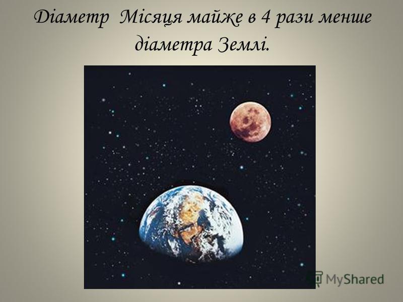 Діаметр Місяця майже в 4 рази менше діаметра Землі.