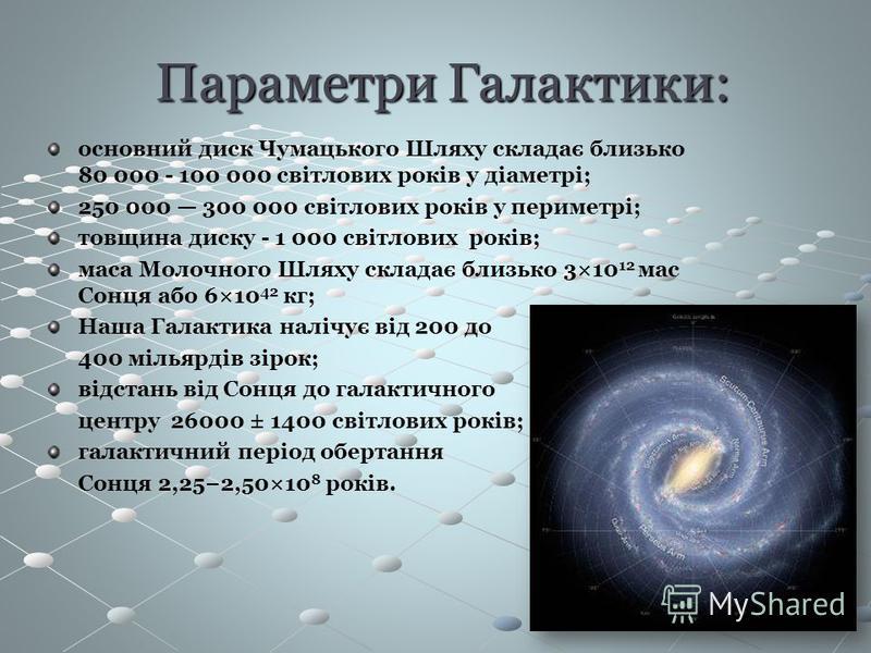Параметри Галактики: Параметри Галактики: основний диск Чумацького Шляху складає близько 80 000 - 100 000 світлових років у діаметрі; 250 000 300 000 світлових років у периметрі; товщина диску - 1 000 світлових років; маса Молочного Шляху складає бли