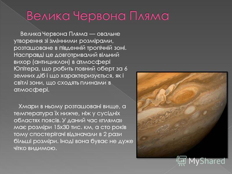 Велика Червона Пляма овальне утворення зі змінними розмірами, розташоване в південній тропічній зоні. Насправді це довготривалий вільний вихор (антициклон) в атмосфері Юпітера, що робить повний оберт за 6 земних діб і що характеризується, як і світлі