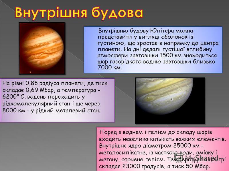 Внутрішню будову Юпітера можна представити у вигляді оболонок із густиною, що зростає в напрямку до центра планети. На дні дедалі густішої вглибину атмосфери завтовшки 1500 км знаходиться шар газорідкого водню завтовшки близько 7000 км. На рівні 0,88