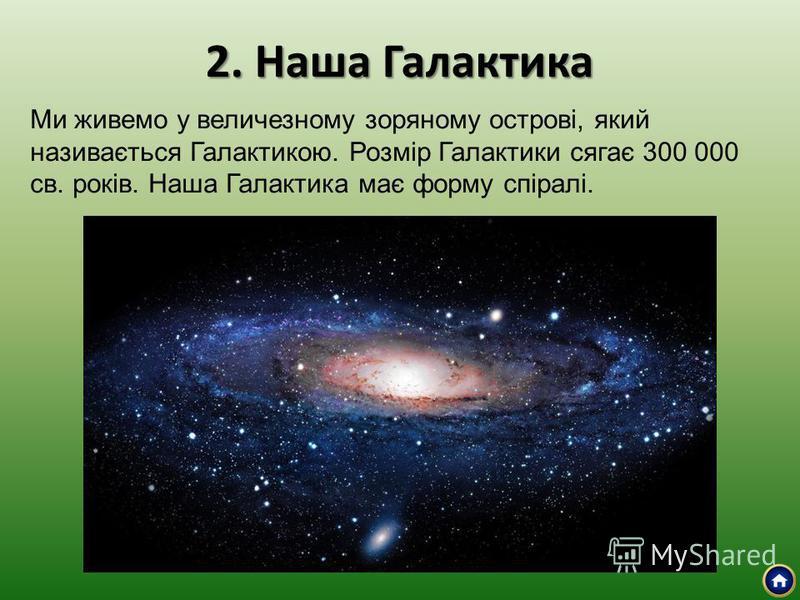 2. Наша Галактика Ми живемо у величезному зоряному острові, який називається Галактикою. Розмір Галактики сягає 300 000 св. років. Наша Галактика має форму спіралі.