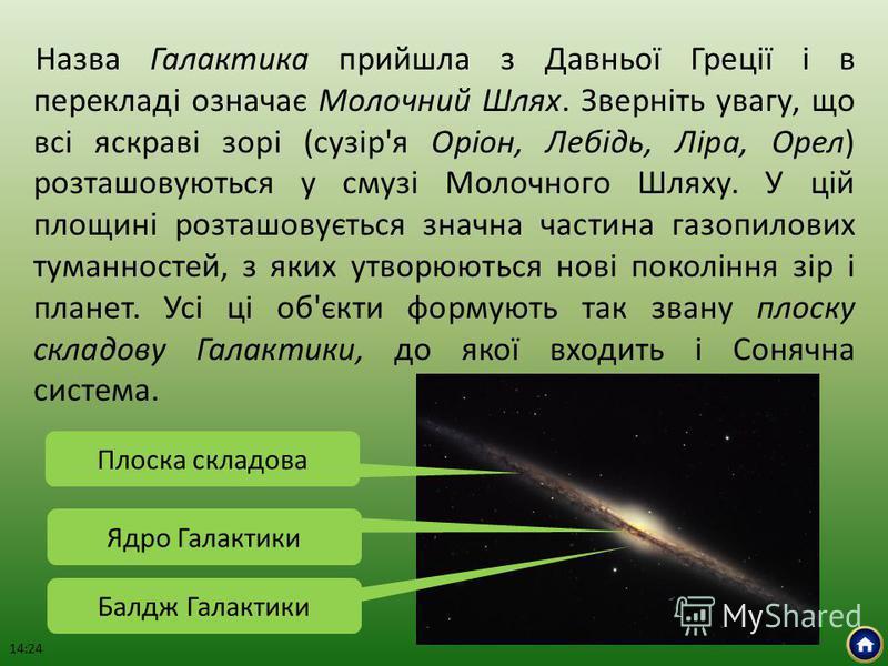Назва Галактика прийшла з Давньої Греції і в перекладі означає Молочний Шлях. Зверніть увагу, що всі яскраві зорі (сузір'я Оріон, Лебідь, Ліра, Орел) розташовуються у смузі Молочного Шляху. У цій площині розташовується значна частина газопилових тума