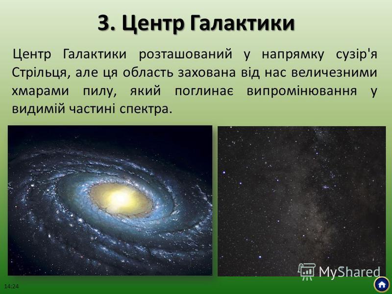 3. Центр Галактики Центр Галактики розташований у напрямку сузір'я Стрільця, але ця область захована від нас величезними хмарами пилу, який поглинає випромінювання у видимій частині спектра. 14:26