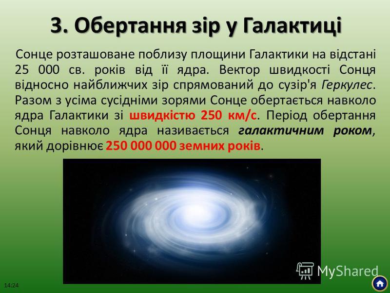 3. Обертання зір у Галактиці Сонце розташоване поблизу площини Галактики на відстані 25 000 св. років від її ядра. Вектор швидкості Сонця відносно найближчих зір спрямований до сузір'я Геркулес. Разом з усіма сусідніми зорями Сонце обертається навкол