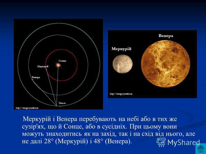 Меркурій і Венера перебувають на небі або в тих же сузір'ях, що й Сонце, або в сусідніх. При цьому вони можуть знаходитись як на захід, так і на схід від нього, але не далі 28° (Меркурій) і 48° (Венера). http://images.yandex.ua Сонце Меркурій Венера
