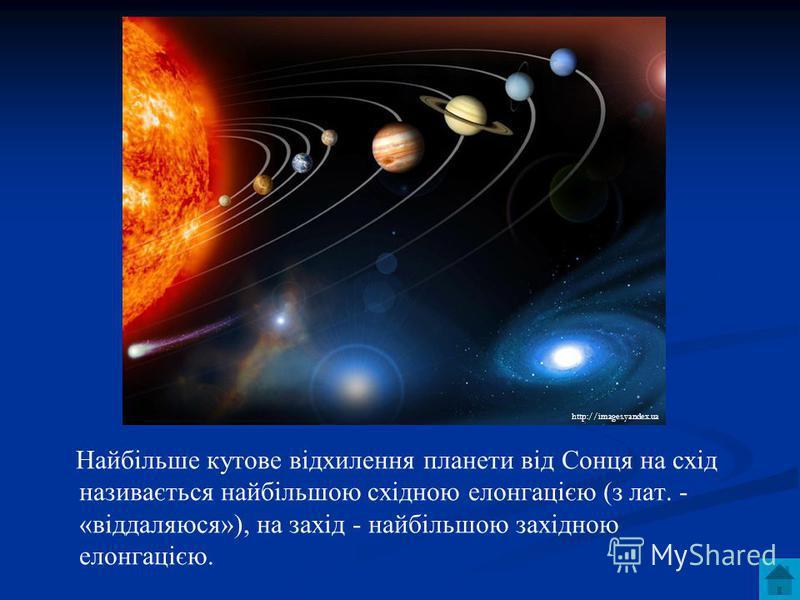 Найбільше кутове відхилення планети від Сонця на схід називається найбільшою східною елонгацією (з лат. - «віддаляюся»), на захід - найбільшою західною елонгацією. http://images.yandex.ua