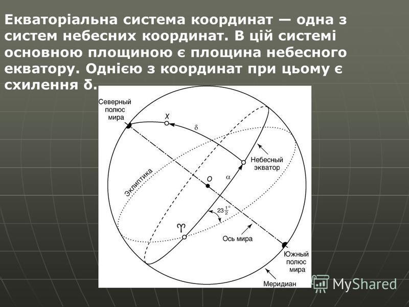 Екваторіальна система координат одна з систем небесних координат. В цій системі основною площиною є площина небесного екватору. Однією з координат при цьому є схилення δ.