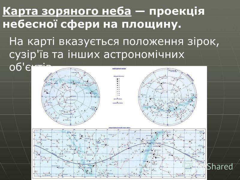 Карта зоряного неба проекція небесної сфери на площину. На карті вказується положення зірок, сузір'їв та інших астрономічних об'єктів.