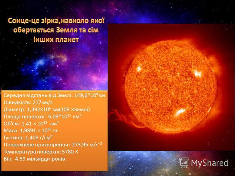Середня відстань від Землі: 149,6*10км Швидкість: 217км/с Діаметр: 1,392×10 6 км(109 ×Землі) Площа поверхні : 6,09*10 12 км² Об'єм: 1,41 × 10 18 км³ Маса: 1,9891 × 10 30 кг Густина: 1,408 г/см³ Поверхневе прискорення : 273,95 м/с 2 Температура поверх