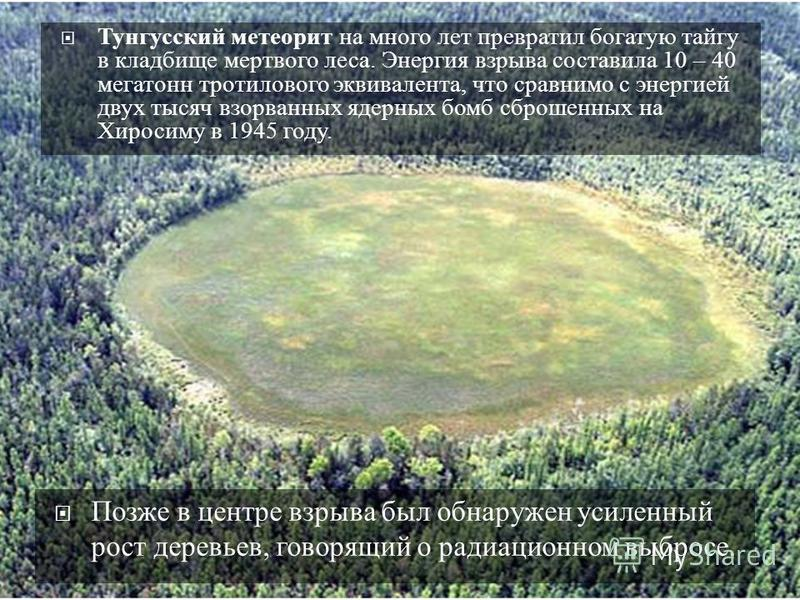 Тунгусский метеорит на много лет превратил богатую тайгу в кладбище мертвого леса. Энергия взрыва составила 10 – 40 мегатонн тротилового эквивалента, что сравнимо с энергией двух тысяч взорванных ядерных бомб сброшенных на Хиросиму в 1945 году. Позже