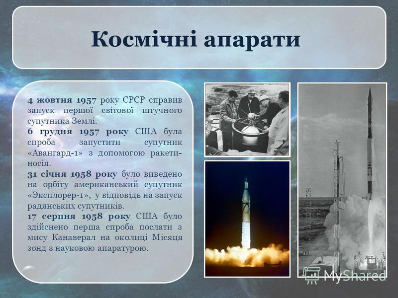 Космічні апарати 4 жовтня 1957 року СРСР справив запуск першої світової штучного супутника Землі. 6 грудня 1957 року США була спроба запустити супутник «Авангард-1» з допомогою ракети- носія. 31 січня 1958 року було виведено на орбіту американський с