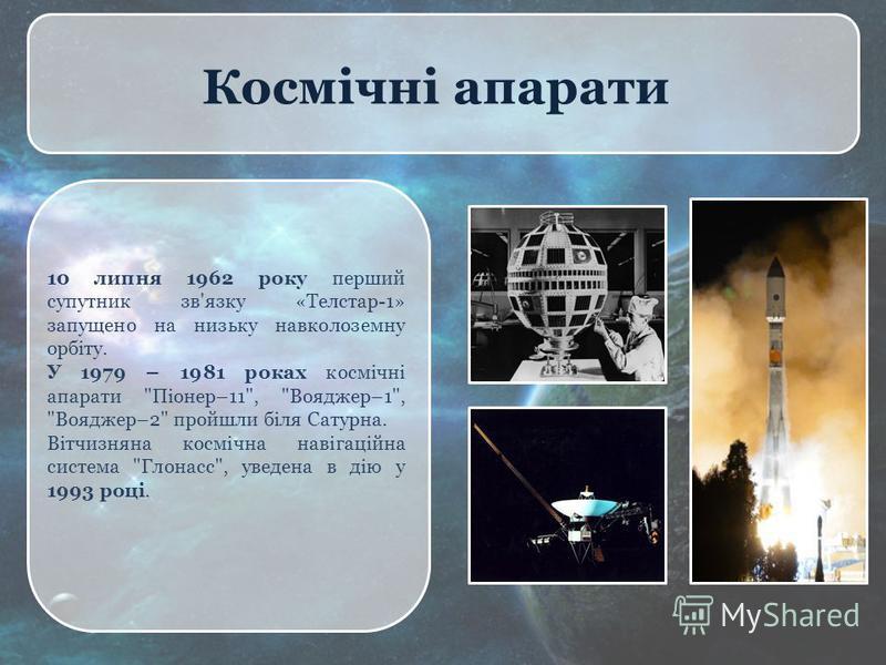 Космічні апарати 10 липня 1962 року перший супутник зв'язку «Телстар-1» запущено на низьку навколоземну орбіту. У 1979 – 1981 роках космічні апарати