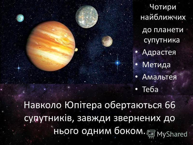Навколо Юпітера обертаються 66 супутників, завжди звернених до нього одним боком. Чотири найближчих до планети супутника Адрастея Метида Амальтея Теба