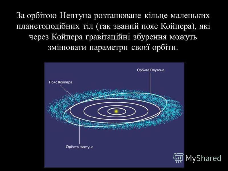 За орбітою Нептуна розташоване кільце маленьких планетоподібних тіл ( так званий пояс Койпера ), які через Койпера гравітаційні збурення можуть змінювати параметри своєї орбіти.