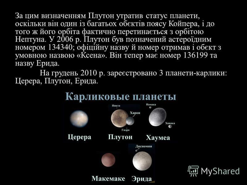 За цим визначенням Плутон утратив статус планети, оскільки він один із багатьох обєктів поясу Койпера, і до того ж його орбіта фактично перетинається з орбітою Нептуна. У 2006 р. Плутон був позначений астероїдним номером 134340; офіційну назву й номе