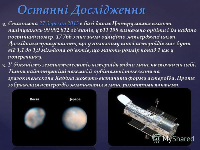 Станом на 27 березня 2013 в базі даних Центру малих планет налічувалось 99 992 812 об'єктів, у 611 198 визначено орбіти і їм надано постійний номер. 17 766 з них мали офіційно затверджені назви. Дослідники припускають, що у головному поясі астероїдів