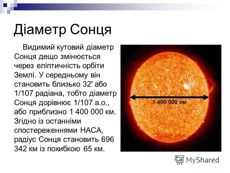 Діаметр Сонця Видимий кутовий діаметр Сонця дещо змінюється через еліптичність орбіти Землі. У середньому він становить близько 32' або 1/107 радіана, тобто діаметр Сонця дорівнює 1/107 а.о., або приблизно 1 400 000 км. Згідно із останніми спостереже