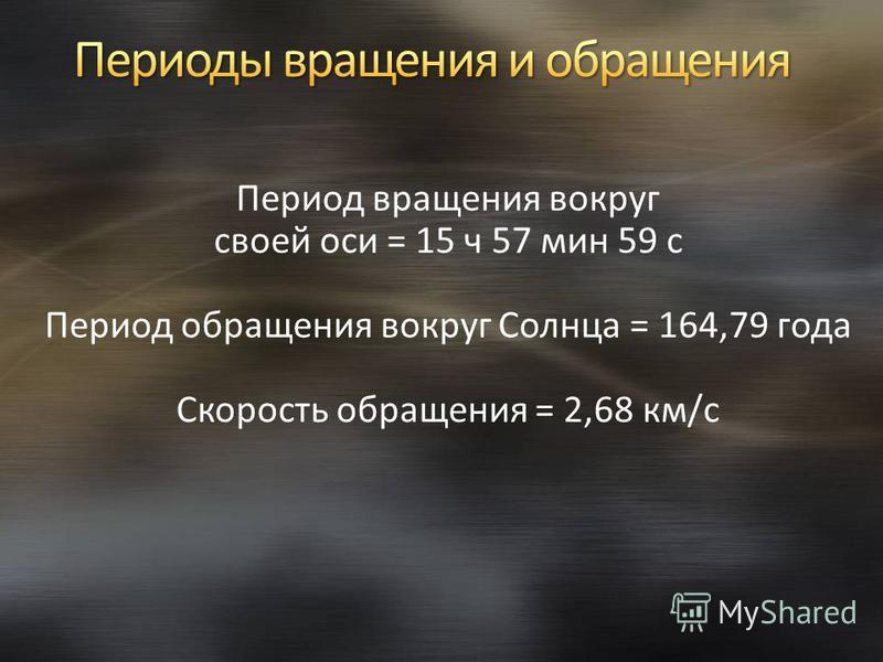 Период вращения вокруг своей оси = 15 ч 57 мин 59 с Период обращения вокруг Солнца = 164,79 года Скорость обращения = 2,68 км/с