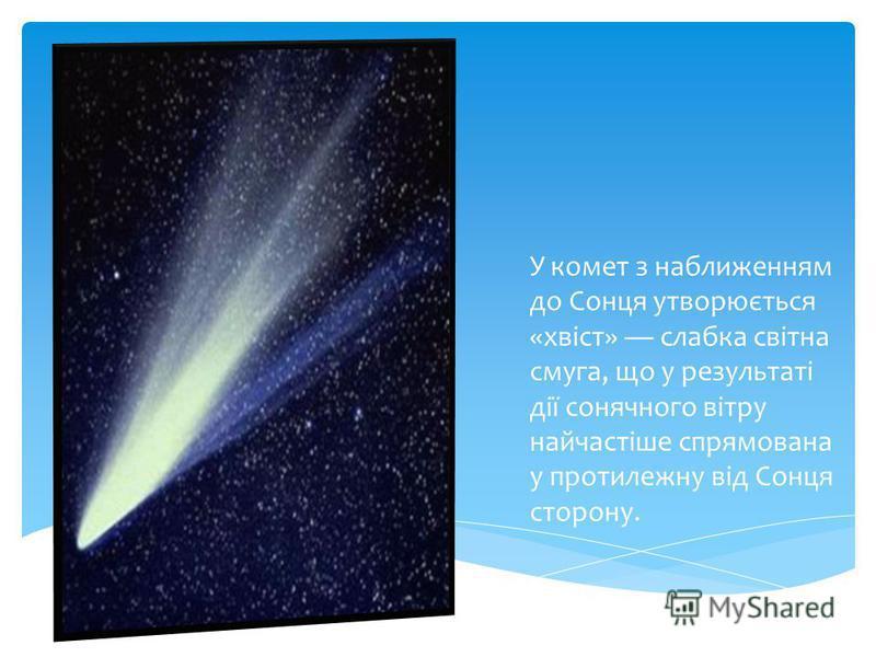 У комет з наближенням до Сонця утворюється «хвіст» слабка світна смуга, що у результаті дії сонячного вітру найчастіше спрямована у протилежну від Сонця сторону.