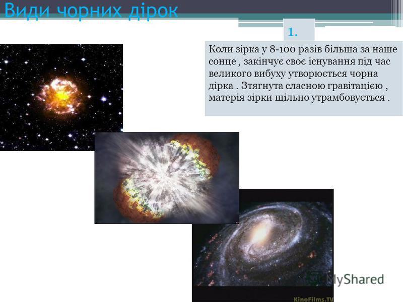 Види чорних дірок 1. Коли зірка у 8-100 разів більша за наше сонце, закінчує своє існування під час великого вибуху утворюється чорна дірка. Зтягнута сласною гравітацією, матерія зірки щільно утрамбовується.