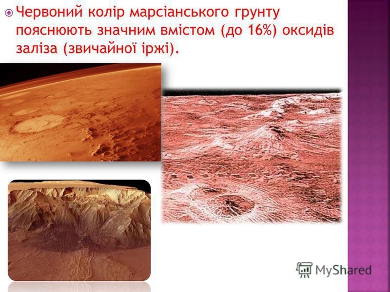 Червоний колір марсіанського грунту пояснюють значним вмістом (до 16%) оксидів заліза (звичайної іржі).