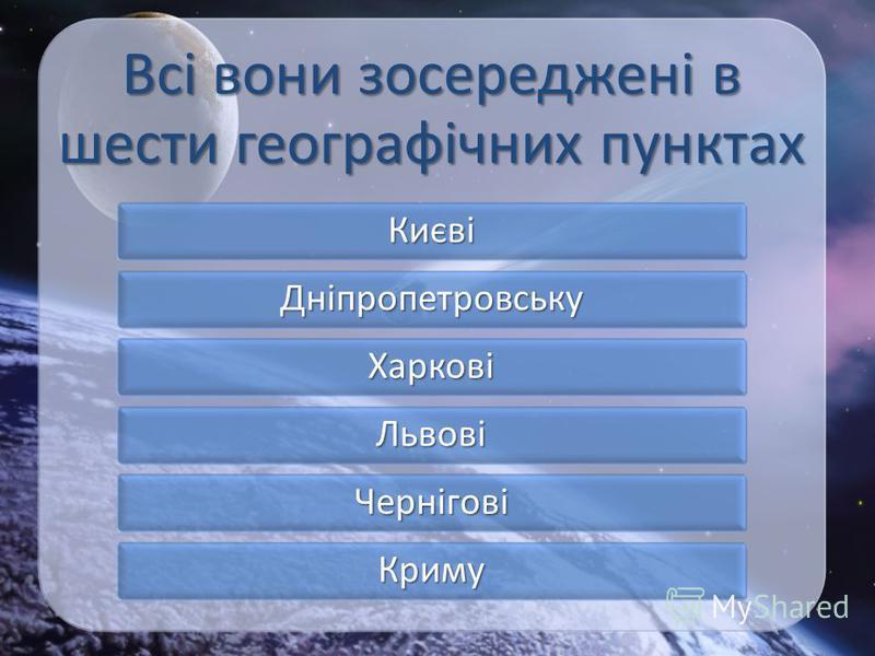 Всі вони зосереджені в шести географічних пунктах Києві Дніпропетровську Харкові Львові Чернігові Криму