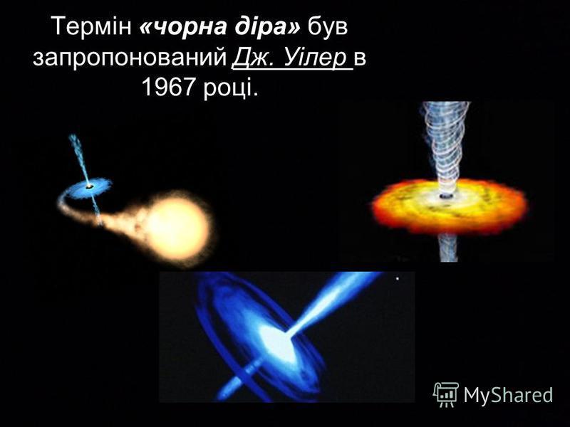 Термін «чорна діра» був запропонований Дж. Уілер в 1967 році.