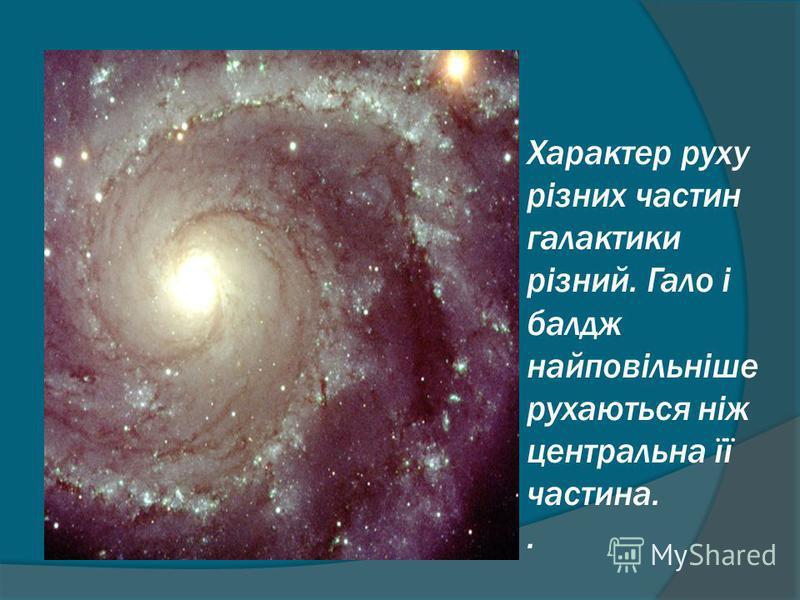 Характер руху різних частин галактики різний. Гало і балдж найповільніше рухаються ніж центральна її частина..
