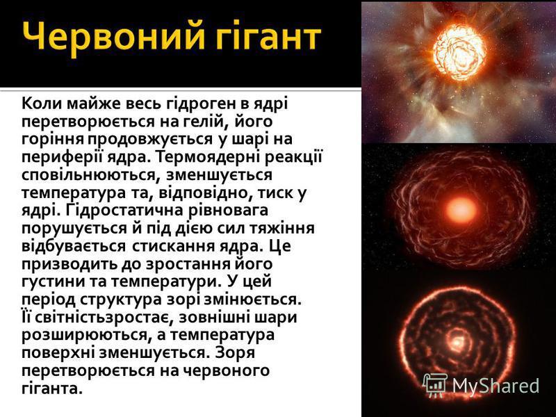 Коли майже весь гідроген в ядрі перетворюється на гелій, його горіння продовжується у шарі на периферії ядра. Термоядерні реакції сповільнюються, зменшується температура та, відповідно, тиск у ядрі. Гідростатична рівновага порушується й під дією сил