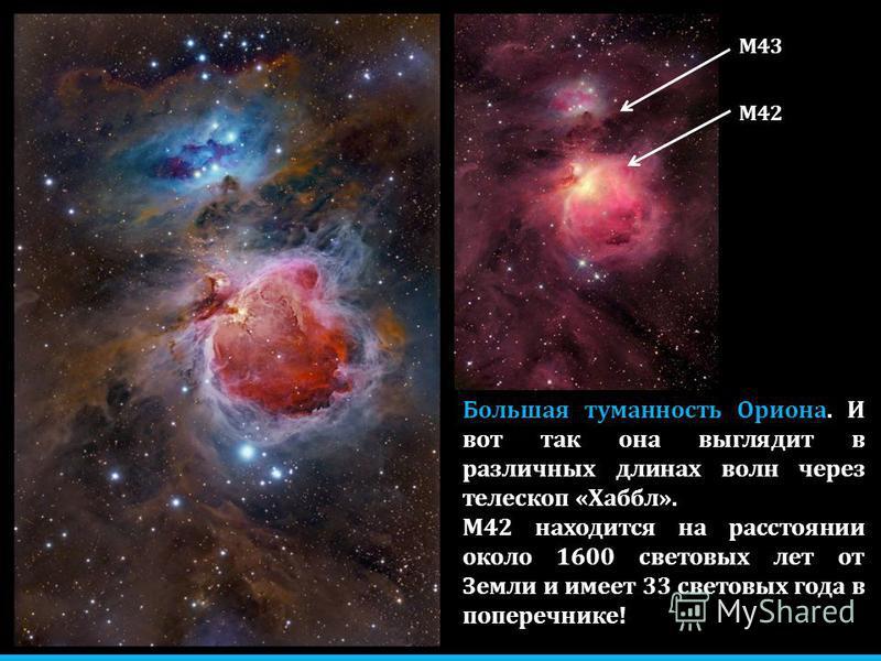 Большая туманность Ориона. И вот так она выглядит в различных длинах волн через телескоп «Хаббл». М42 находится на расстоянии около 1600 световых лет от Земли и имеет 33 световых года в поперечнике! М42 М43