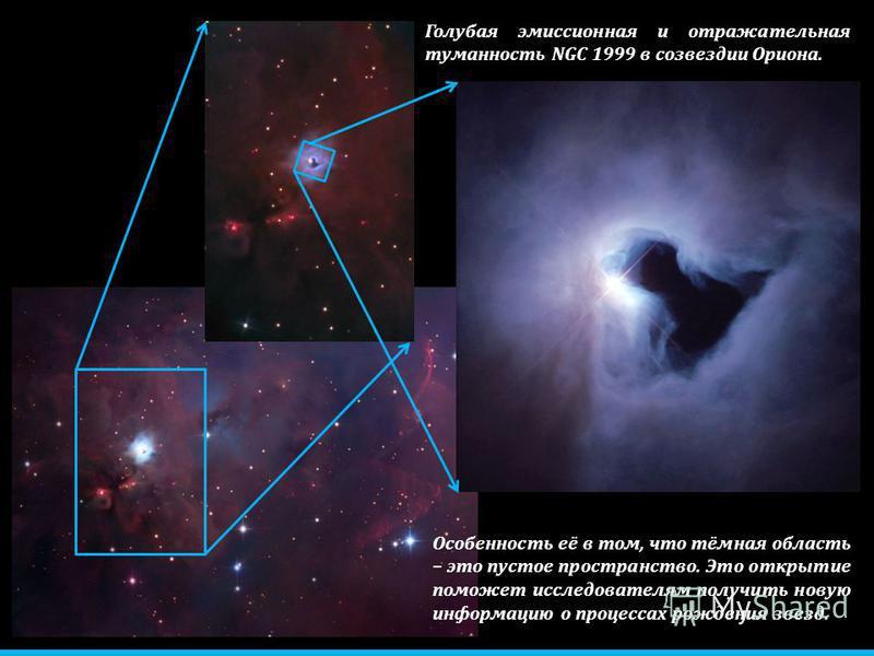 Голубая эмиссионная и отражательная туманность NGC 1999 в созвездии Ориона. Особенность её в том, что тёмная область – это пустое пространство. Это открытие поможет исследователям получить новую информацию о процессах рождения звезд.