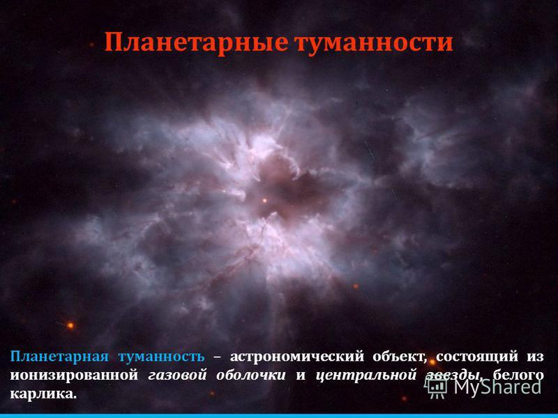 Планетарные туманности Планетарная туманность – астрономический объект, состоящий из ионизированной газовой оболочки и центральной звезды, белого карлика.